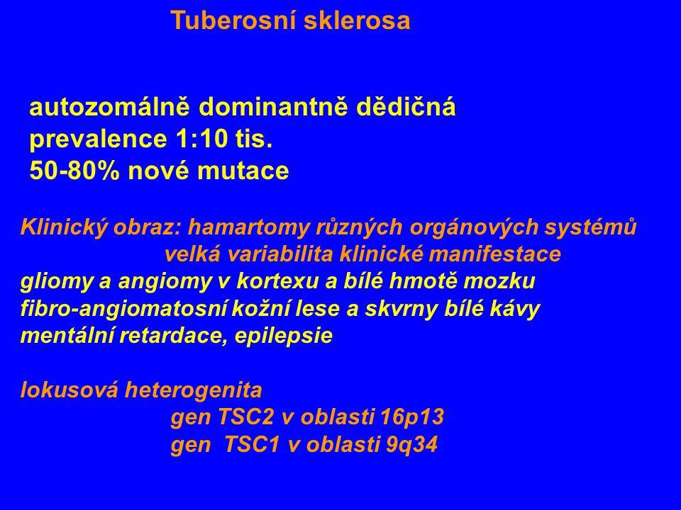 Tuberosní sklerosa autozomálně dominantně dědičná prevalence 1:10 tis. 50-80% nové mutace Klinický obraz: hamartomy různých orgánových systémů velká v