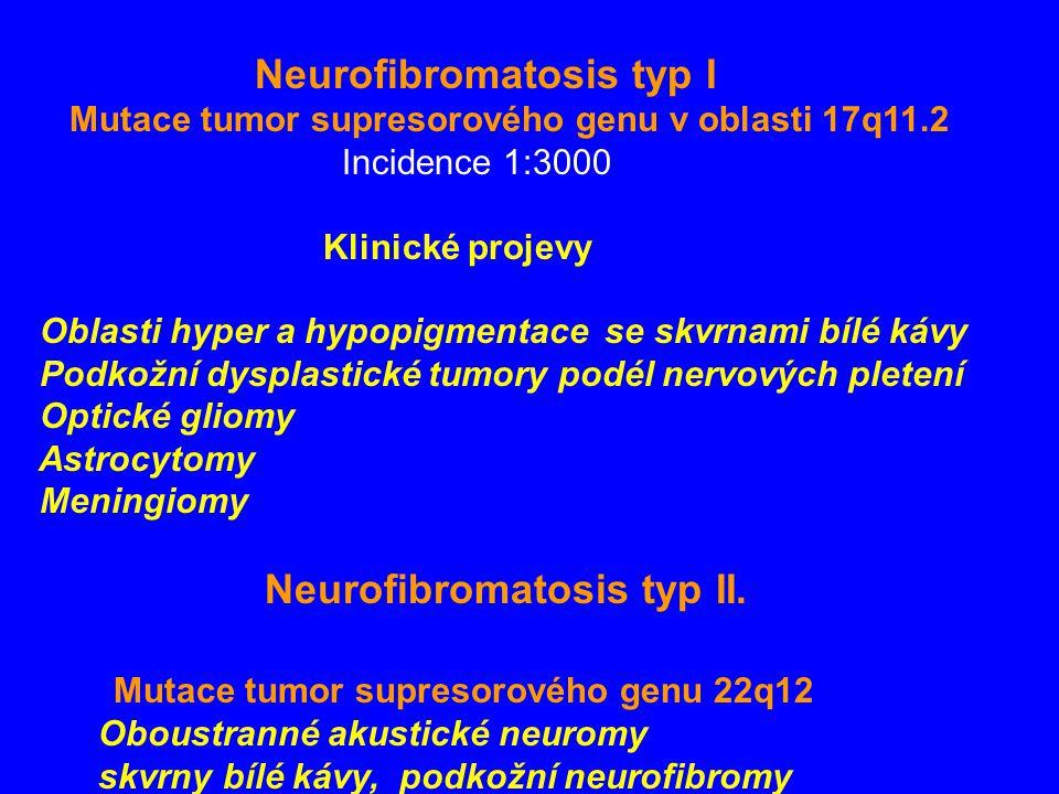 Neurofibromatosis typ I Mutace tumor supresorového genu v oblasti 17q11.2 Incidence 1:3000 Klinické projevy Oblasti hyper a hypopigmentace se skvrnami bílé kávy Podkožní dysplastické tumory podél nervových pletení Optické gliomy Astrocytomy Meningiomy Neurofibromatosis typ II.