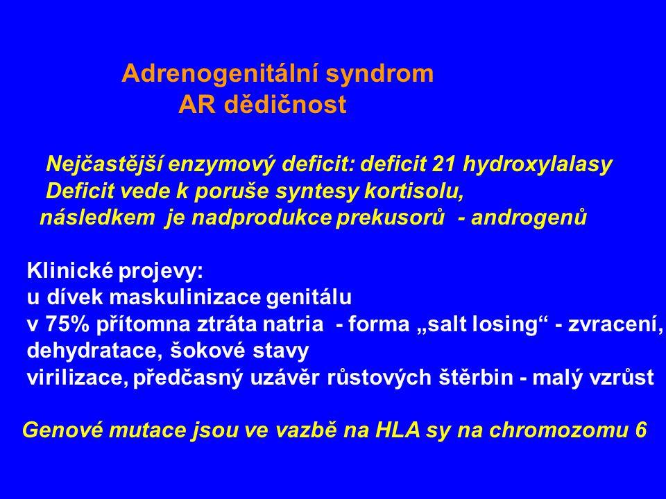 """Adrenogenitální syndrom AR dědičnost Nejčastější enzymový deficit: deficit 21 hydroxylalasy Deficit vede k poruše syntesy kortisolu, následkem je nadprodukce prekusorů - androgenů Klinické projevy: u dívek maskulinizace genitálu v 75% přítomna ztráta natria - forma """"salt losing - zvracení, dehydratace, šokové stavy virilizace, předčasný uzávěr růstových štěrbin - malý vzrůst Genové mutace jsou ve vazbě na HLA sy na chromozomu 6"""