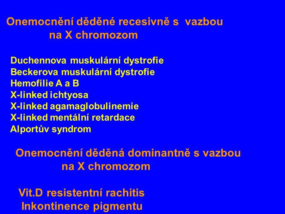 Onemocnění děděné recesivně s vazbou na X chromozom Duchennova muskulární dystrofie Beckerova muskulární dystrofie Hemofilie A a B X-linked ichtyosa X-linked agamaglobulinemie X-linked mentální retardace Alportův syndrom Onemocnění děděná dominantně s vazbou na X chromozom Vit.D resistentní rachitis Inkontinence pigmentu