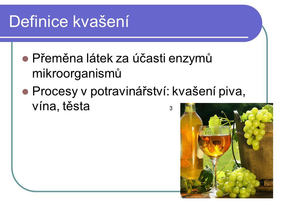 Definice kvašení  Přeměna látek za účasti enzymů mikroorganismů  Procesy v potravinářství: kvašení piva, vína, těsta 3