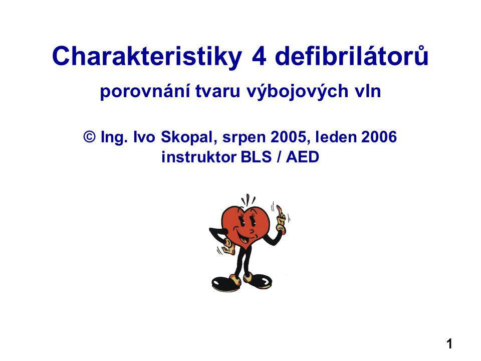 Charakteristiky 4 defibrilátorů porovnání tvaru výbojových vln © Ing.