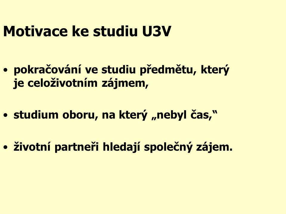 """Motivace ke studiu U3V •pokračování ve studiu předmětu, který je celoživotním zájmem, •studium oboru, na který """"nebyl čas, •životní partneři hledají společný zájem."""