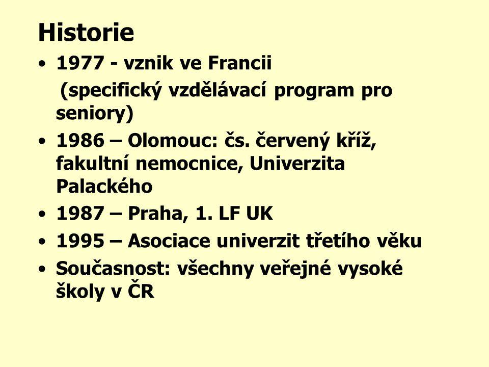 Historie •1977 - vznik ve Francii (specifický vzdělávací program pro seniory) •1986 – Olomouc: čs.