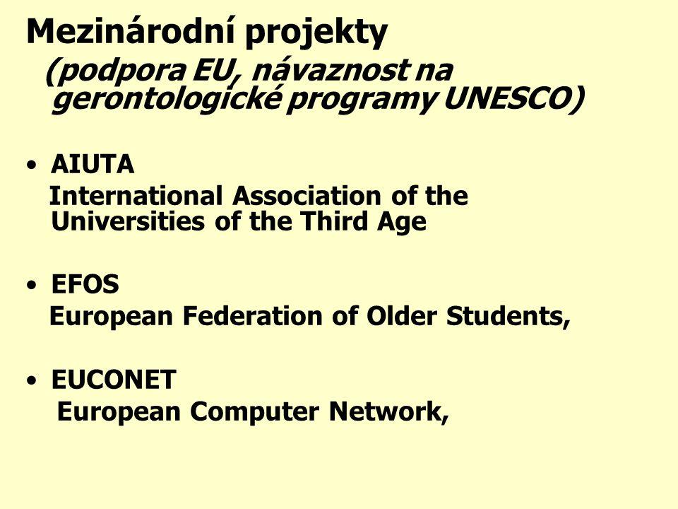 Mezinárodní projekty (podpora EU, návaznost na gerontologické programy UNESCO) •AIUTA International Association of the Universities of the Third Age •EFOS European Federation of Older Students, •EUCONET European Computer Network,