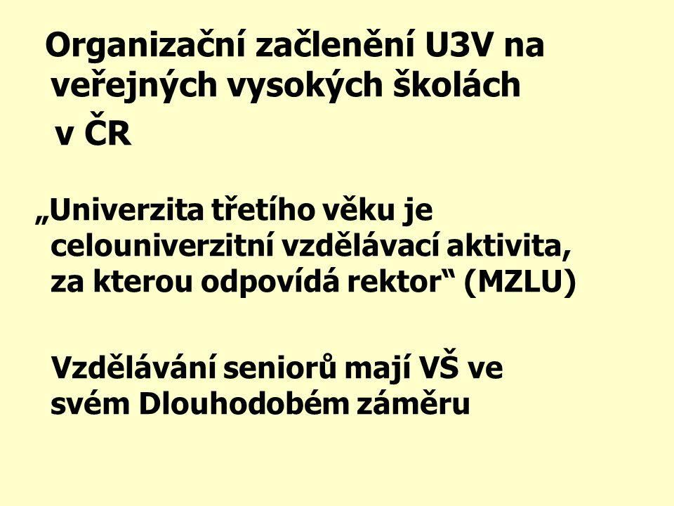 """Organizační začlenění U3V na veřejných vysokých školách v ČR """"Univerzita třetího věku je celouniverzitní vzdělávací aktivita, za kterou odpovídá rektor (MZLU) Vzdělávání seniorů mají VŠ ve svém Dlouhodobém záměru"""