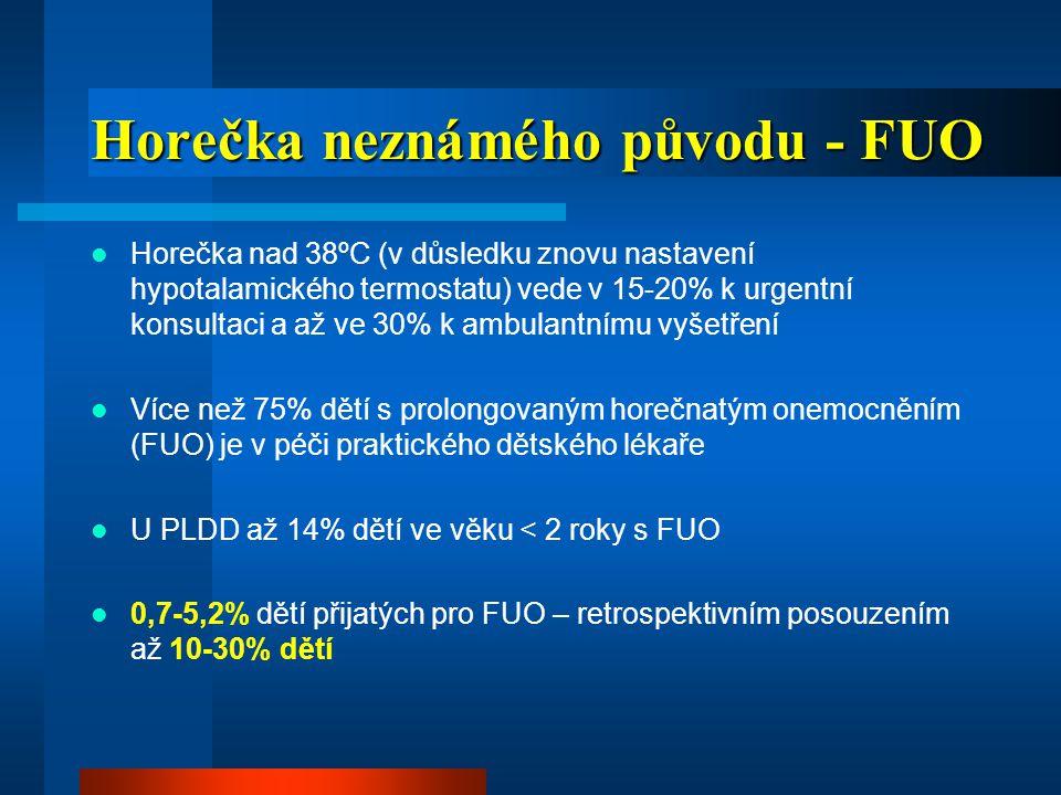 Definice FUO  Dětský věk: po 7-10 dnech diagnostiky (včetně laboratorní) horečka >38.0ºC (měřeno rektálně)  Adolescenti: po 2-3 týdnech diagnostiky  Další faktory: věk, stav imunity, výživy  Příčina: infekce, autoimunitní choroby, onemocnění pojiva, nespecifický střevní zánět, nádory