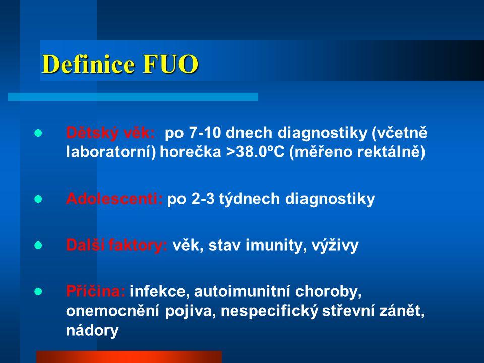 Incidence FUO  FUO u dětí netoxického vzhledu 3-10%  2-7% FUO: okultní bakteriémie (OB)  5-12% OB: invazivní komplikace (meningitida, artritida, osteomyelitida, orbitocelulutida)