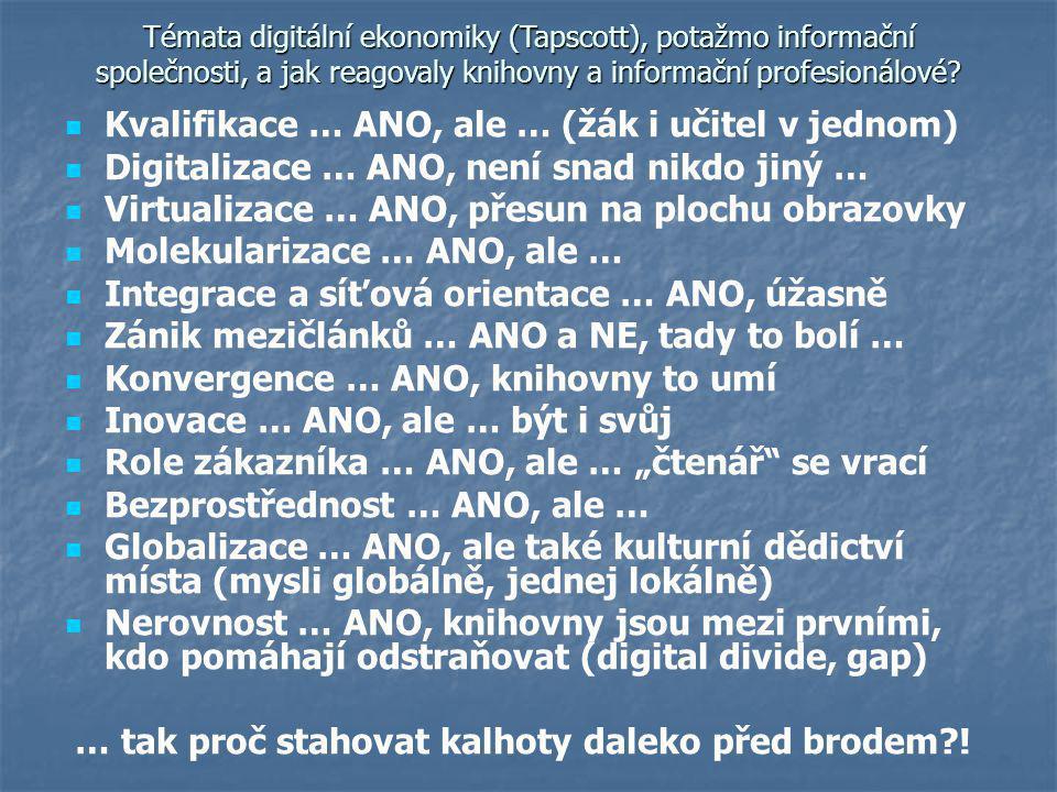 Témata digitální ekonomiky (Tapscott), potažmo informační společnosti, a jak reagovaly knihovny a informační profesionálové.