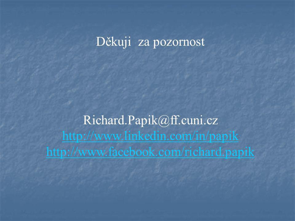 Děkuji za pozornost Richard.Papik@ff.cuni.cz http://www.linkedin.com/in/papik http://www.facebook.com/richard.papik