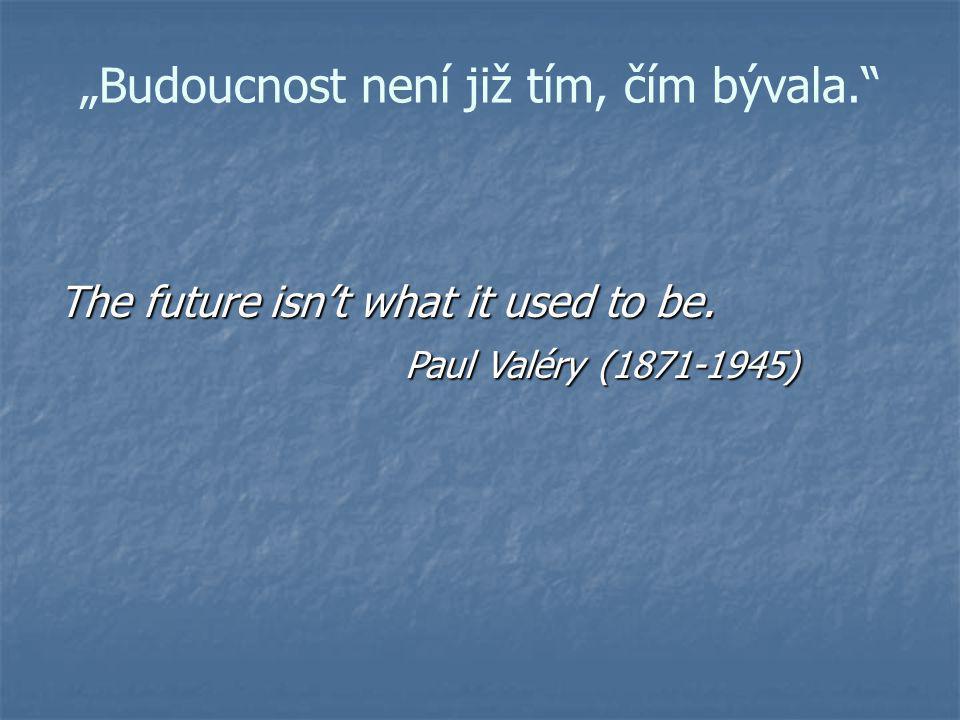 """""""Budoucnost není již tím, čím bývala."""" The future isn't what it used to be. Paul Valéry (1871-1945) Paul Valéry (1871-1945)"""