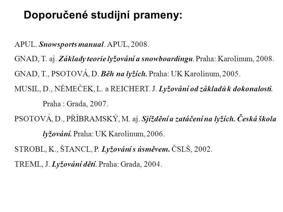 APUL. Snowsports manual. APUL, 2008. GNAD, T. aj. Základy teorie lyžování a snowboardingu. Praha: Karolinum, 2008. GNAD, T., PSOTOVÁ, D. Běh na lyžích