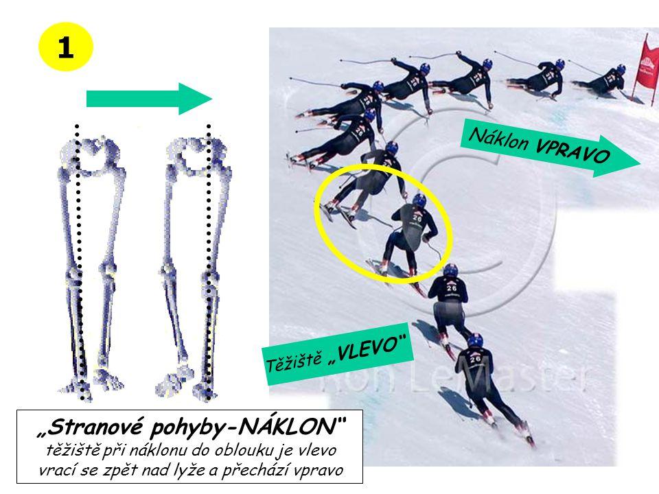 """1 """"Stranové pohyby-NÁKLON"""" těžiště při náklonu do oblouku je vlevo vrací se zpět nad lyže a přechází vpravo Náklon VPRAVO Těžiště """"VLEVO"""""""