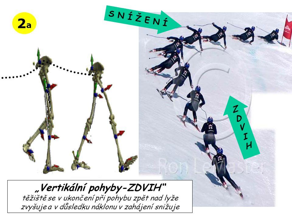 """2a2a """"Vertikální pohyby-ZDVIH"""" těžiště se v ukončení při pohybu zpět nad lyže zvyšuje a v důsledku náklonu v zahájení snižuje ZDVIHZDVIH S N Í Ž E N Í"""