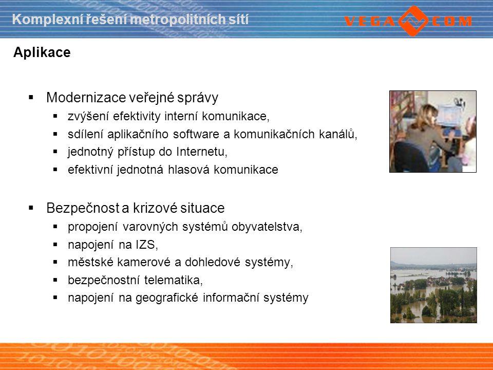 Komplexní řešení metropolitních sítí Aplikace  Modernizace veřejné správy  zvýšení efektivity interní komunikace,  sdílení aplikačního software a k