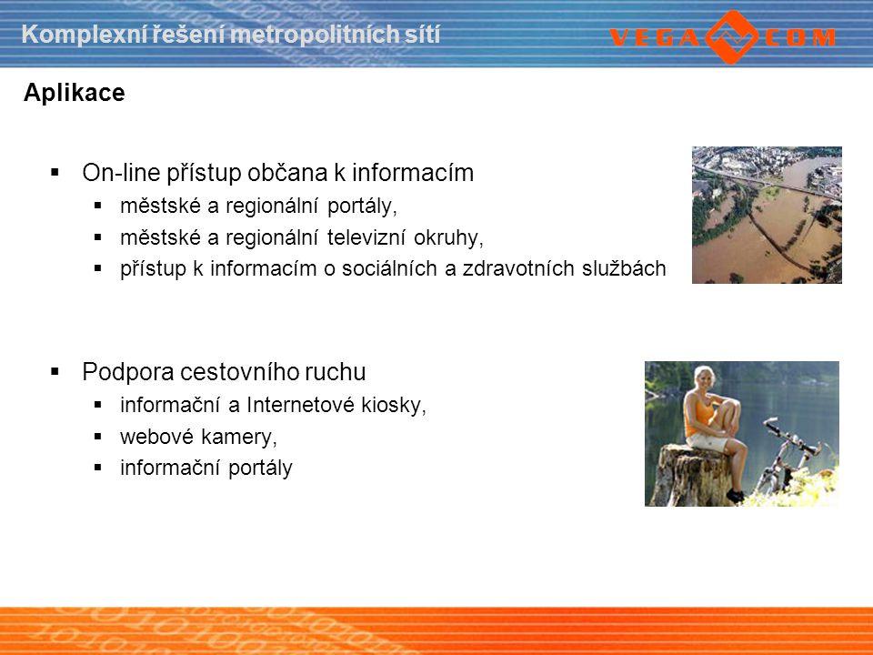Komplexní řešení metropolitních sítí Aplikace  On-line přístup občana k informacím  městské a regionální portály,  městské a regionální televizní o