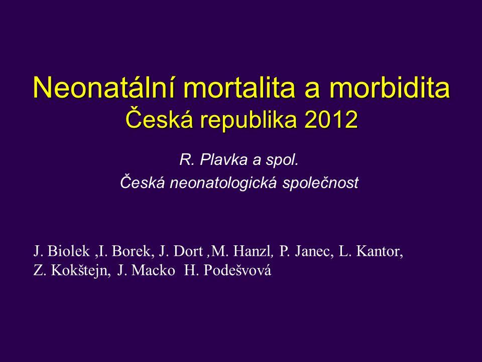 Neonatální mortalita a morbidita Česká republika 2012 R. Plavka a spol. Česká neonatologická společnost J. Biolek,I. Borek, J. Dort,M. Hanzl, P. Janec