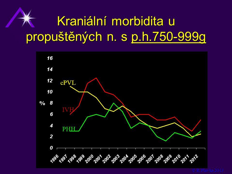 Kraniální morbidita u propuštěných n. s p.h.750-999g cPVL IVH PHH © R.Plavka 2013