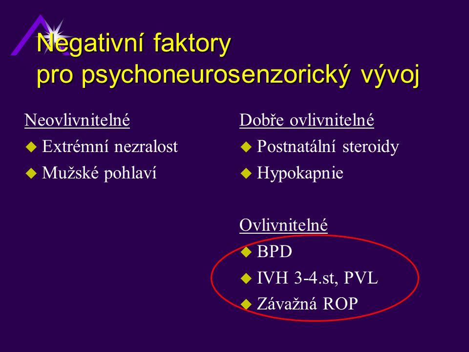 Negativní faktory pro psychoneurosenzorický vývoj Neovlivnitelné u Extrémní nezralost u Mužské pohlaví Dobře ovlivnitelné u Postnatální steroidy u Hyp