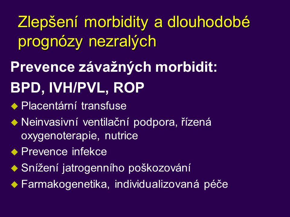 Zlepšení morbidity a dlouhodobé prognózy nezralých Prevence závažných morbidit: BPD, IVH/PVL, ROP u Placentární transfuse u Neinvasivní ventilační pod