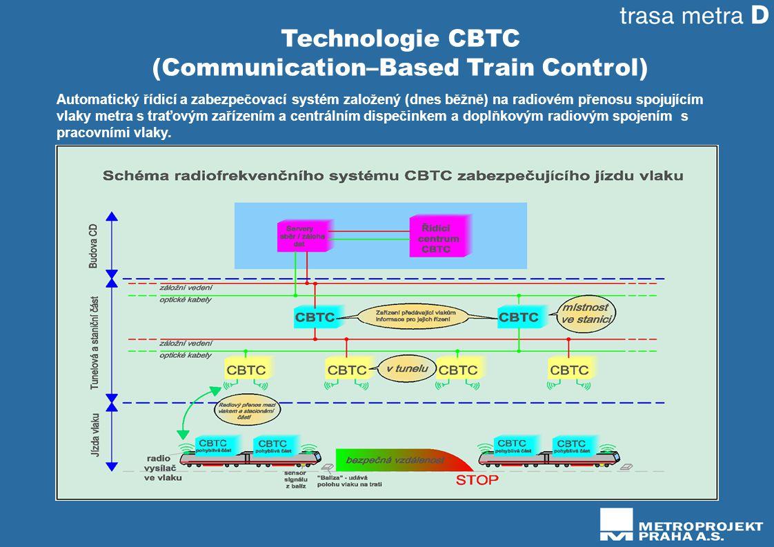 Technologie CBTC (Communication–Based Train Control) Automatický řídicí a zabezpečovací systém založený (dnes běžně) na radiovém přenosu spojujícím vlaky metra s traťovým zařízením a centrálním dispečinkem a doplňkovým radiovým spojením s pracovními vlaky.