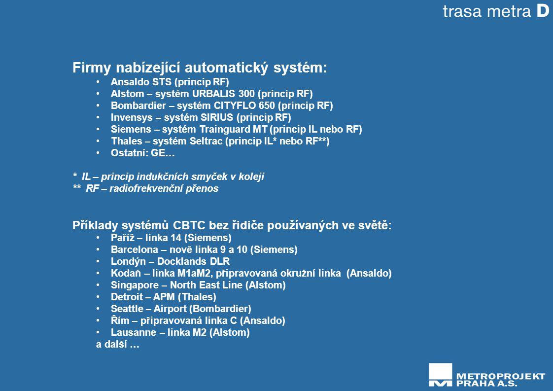Firmy nabízející automatický systém: •Ansaldo STS (princip RF) •Alstom – systém URBALIS 300 (princip RF) •Bombardier – systém CITYFLO 650 (princip RF) •Invensys – systém SIRIUS (princip RF) •Siemens – systém Trainguard MT (princip IL nebo RF) •Thales – systém Seltrac (princip IL* nebo RF**) •Ostatní: GE… * IL – princip indukčních smyček v koleji ** RF – radiofrekvenční přenos Příklady systémů CBTC bez řidiče používaných ve světě: •Paříž – linka 14 (Siemens) •Barcelona – nově linka 9 a 10 (Siemens) •Londýn – Docklands DLR •Kodaň – linka M1aM2, připravovaná okružní linka (Ansaldo) •Singapore – North East Line (Alstom) •Detroit – APM (Thales) •Seattle – Airport (Bombardier) •Řím – připravovaná linka C (Ansaldo) •Lausanne – linka M2 (Alstom) a další …