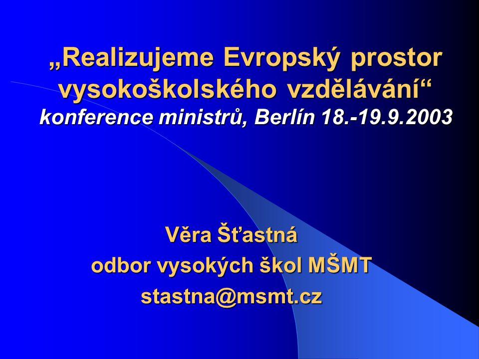 2  Od diskusí a proklamace k implementaci – větší konkrétnost závěrečného komuniké ministrů; – Boloňský proces má po Berlíně 10 hlavních cílů, ale byly jednoznačně stanoveny 3 základní priority - do r.