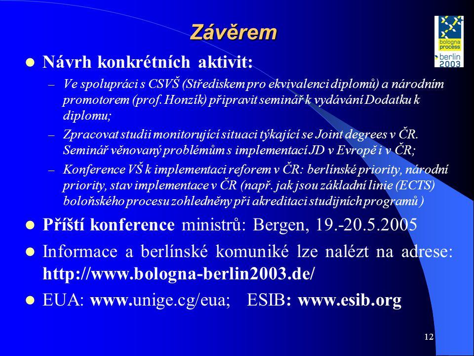 12 Závěrem  Návrh konkrétních aktivit: – Ve spolupráci s CSVŠ (Střediskem pro ekvivalenci diplomů) a národním promotorem (prof. Honzík) připravit sem