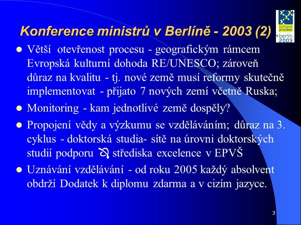 3 Konference ministrů v Berlíně - 2003 (2)  Větší otevřenost procesu - geografickým rámcem Evropská kulturní dohoda RE/UNESCO; zároveň důraz na kvali