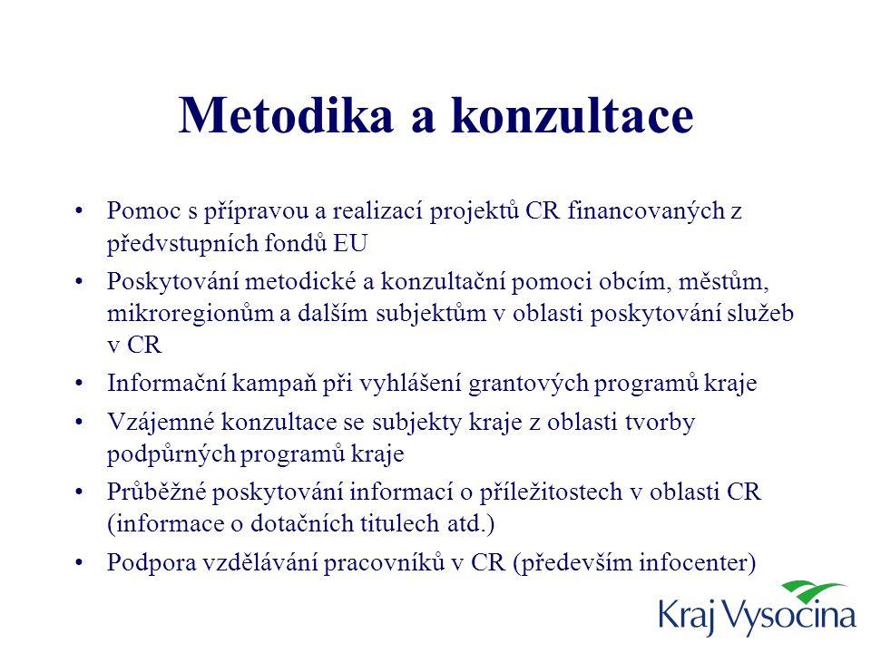 Metodika a konzultace •Pomoc s přípravou a realizací projektů CR financovaných z předvstupních fondů EU •Poskytování metodické a konzultační pomoci obcím, městům, mikroregionům a dalším subjektům v oblasti poskytování služeb v CR •Informační kampaň při vyhlášení grantových programů kraje •Vzájemné konzultace se subjekty kraje z oblasti tvorby podpůrných programů kraje •Průběžné poskytování informací o příležitostech v oblasti CR (informace o dotačních titulech atd.) •Podpora vzdělávání pracovníků v CR (především infocenter)