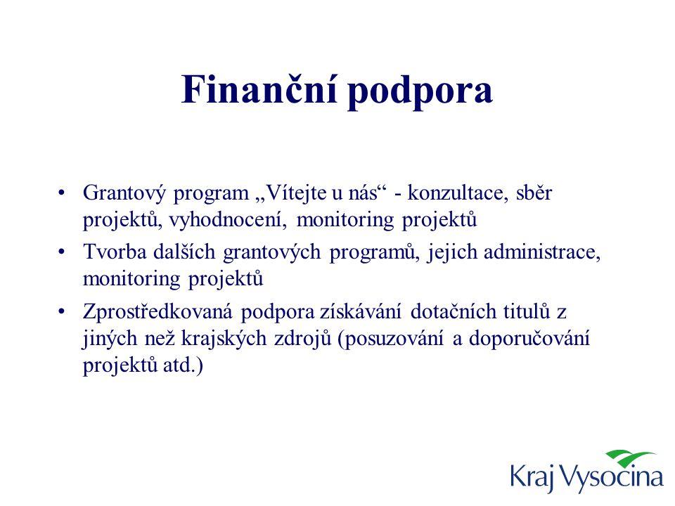 """Finanční podpora •Grantový program """"Vítejte u nás - konzultace, sběr projektů, vyhodnocení, monitoring projektů •Tvorba dalších grantových programů, jejich administrace, monitoring projektů •Zprostředkovaná podpora získávání dotačních titulů z jiných než krajských zdrojů (posuzování a doporučování projektů atd.)"""