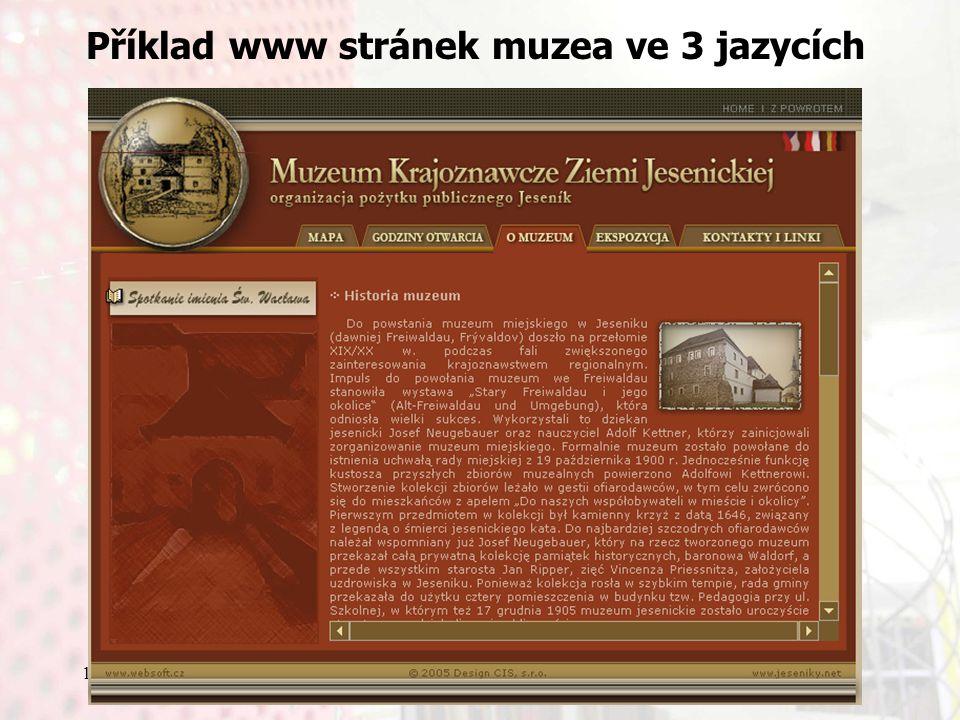 13.9.2006Knihovny současnosti 2006, Seč Příklad www stránek muzea ve 3 jazycích