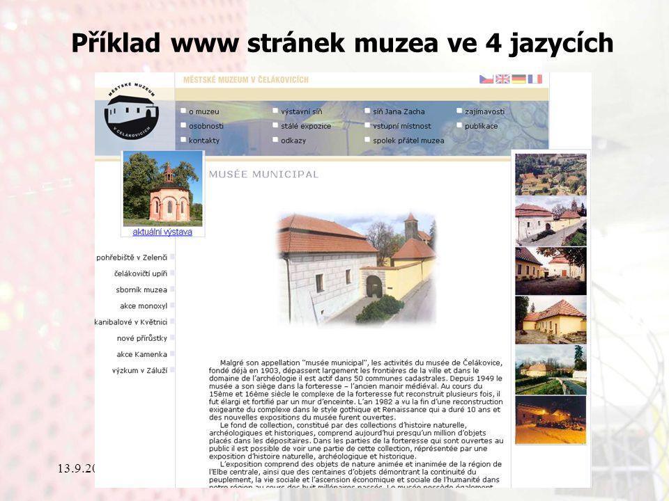 13.9.2006Knihovny současnosti 2006, Seč Příklad www stránek muzea ve 4 jazycích