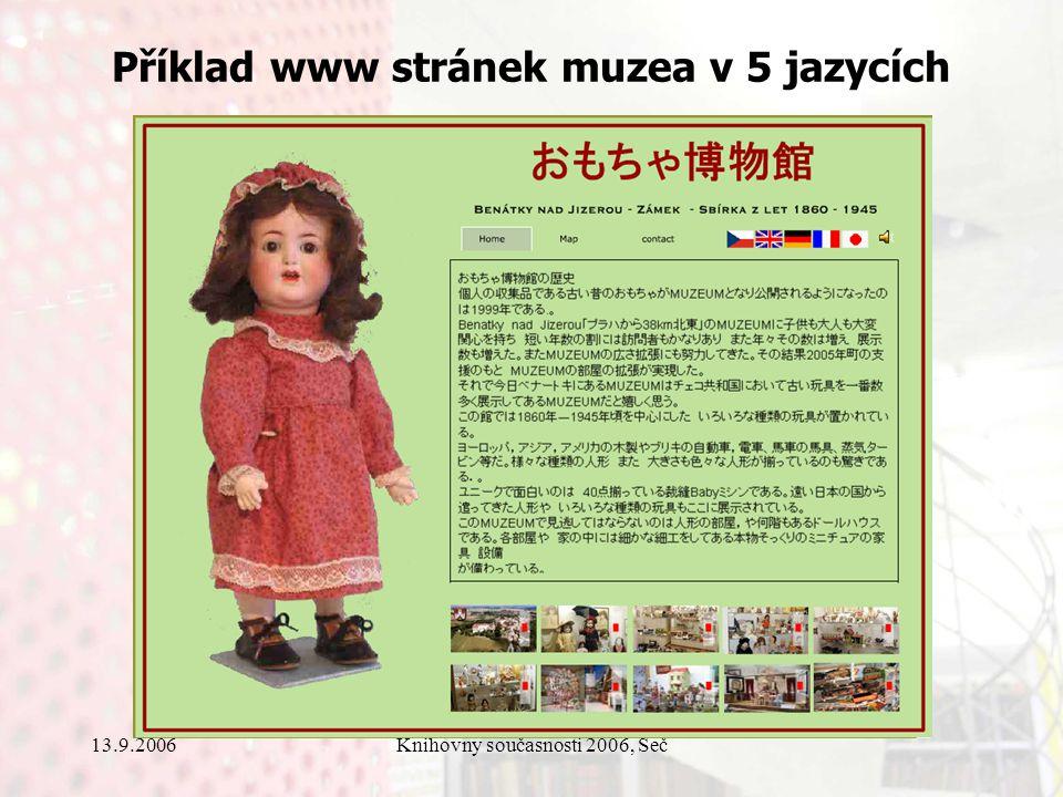 13.9.2006Knihovny současnosti 2006, Seč Příklad www stránek muzea v 5 jazycích