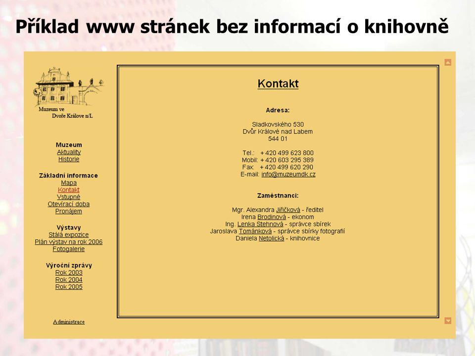 13.9.2006Knihovny současnosti 2006, Seč Příklad www stránek bez informací o knihovně