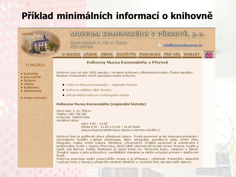 13.9.2006Knihovny současnosti 2006, Seč Příklad minimálních informací o knihovně
