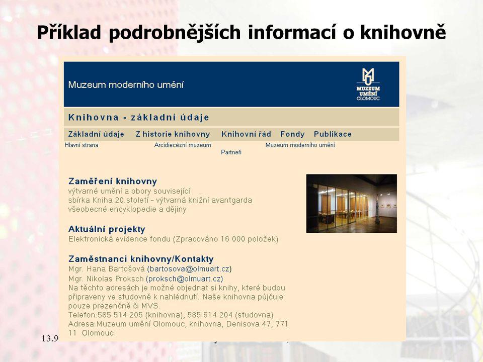 13.9.2006Knihovny současnosti 2006, Seč Příklad podrobnějších informací o knihovně
