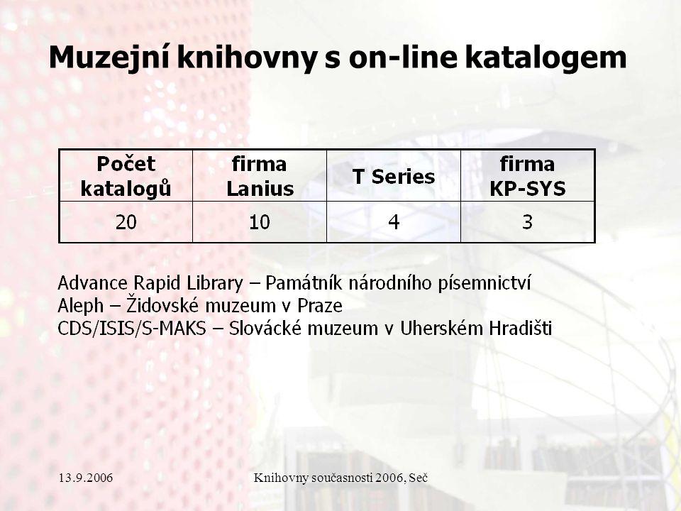 13.9.2006Knihovny současnosti 2006, Seč Muzejní knihovny s on-line katalogem