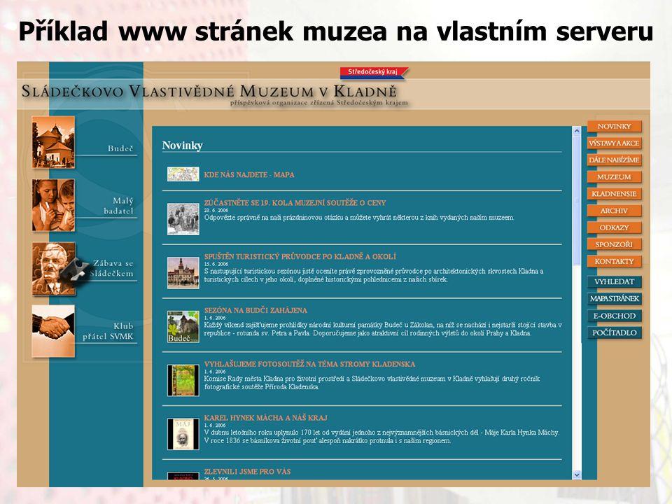 13.9.2006Knihovny současnosti 2006, Seč Příklad www stránek muzea na vlastním serveru