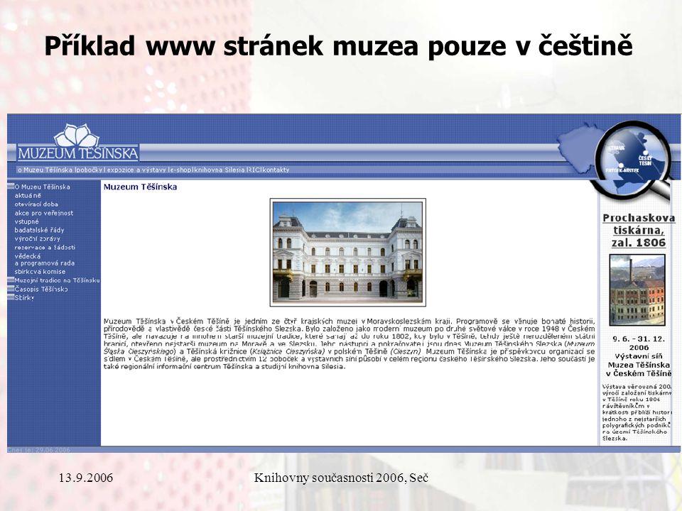 13.9.2006Knihovny současnosti 2006, Seč Příklad www stránek muzea pouze v češtině