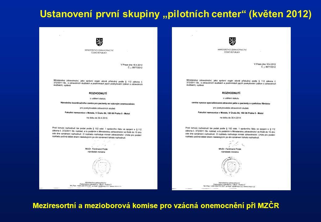 """Ustanovení první skupiny """"pilotních center"""" (květen 2012) Meziresortní a mezioborová komise pro vzácná onemocnění při MZČR"""
