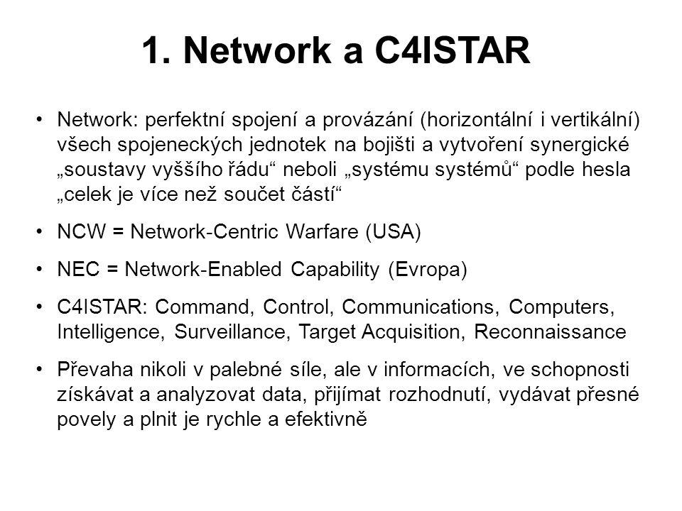 1. Network a C4ISTAR •Network: perfektní spojení a provázání (horizontální i vertikální) všech spojeneckých jednotek na bojišti a vytvoření synergické