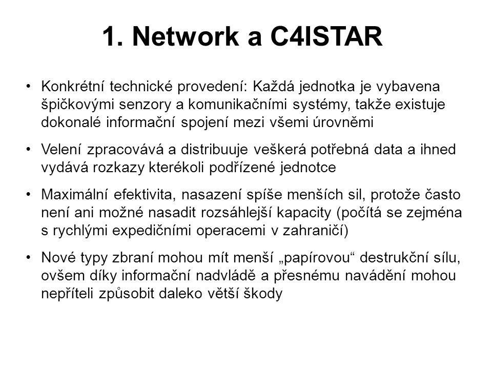 1. Network a C4ISTAR •Konkrétní technické provedení: Každá jednotka je vybavena špičkovými senzory a komunikačními systémy, takže existuje dokonalé in