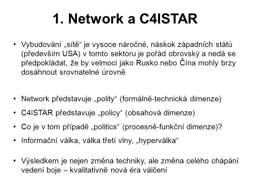 """1. Network a C4ISTAR •Vybudování """"sítě"""" je vysoce náročné, náskok západních států (především USA) v tomto sektoru je pořád obrovský a nedá se předpokl"""