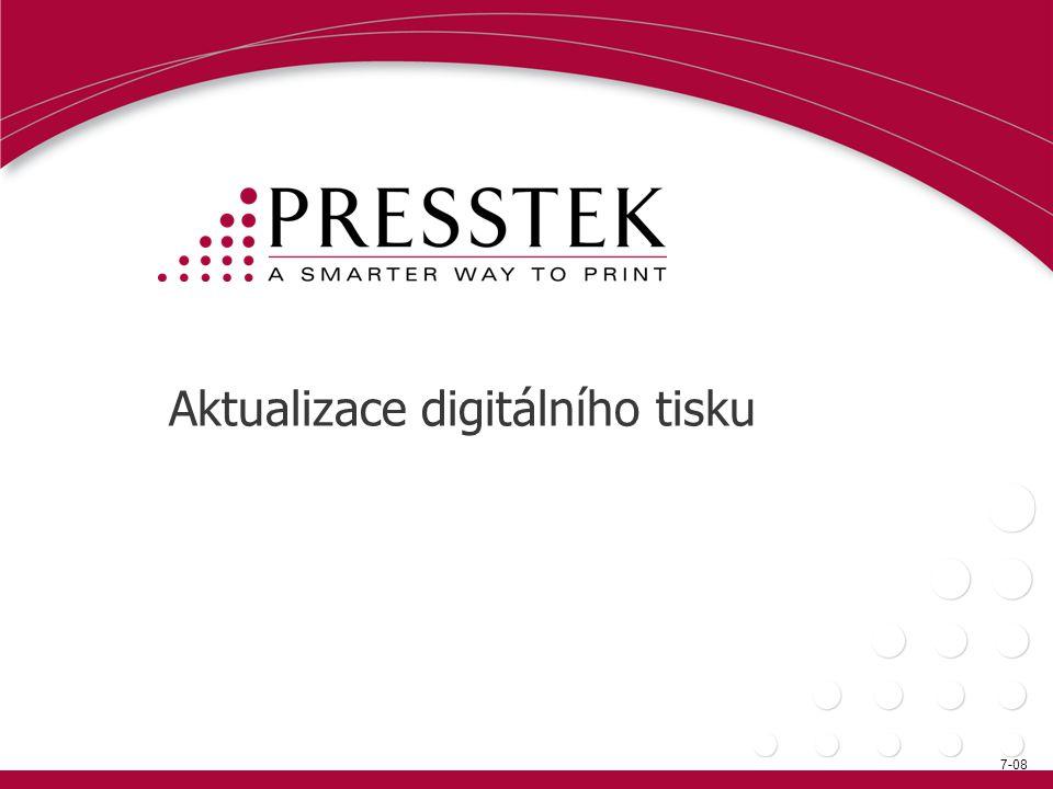 Digitální výrobní tiskové stroje •Tiskové stroje pro1 milion + pracovních cyklů ¯ HP Indigo 3500, 5500 ¯ Kodak Nexpress 2100, 2500, S 3000 ¯ Oce VarioStream 9240 ¯ Xeikon 4000, 5000, 6000 ¯ Xerox iGen3 and iGen4 •60+ppm (pod1 milion pracovních cyklů) ¯ Konica Minolta bizhub PRO C 65hc ¯ Xerox DocuColor 7000, 8000