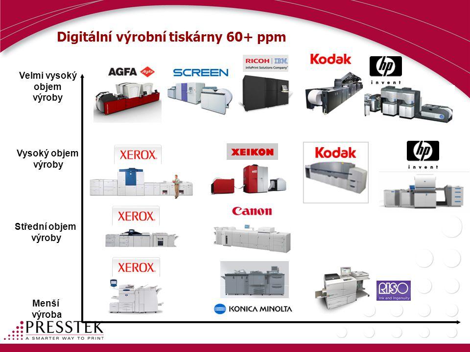Digitální výrobní tiskárny 60+ ppm Velmi vysoký objem výroby Vysoký objem výroby Střední objem výroby Menší výroba