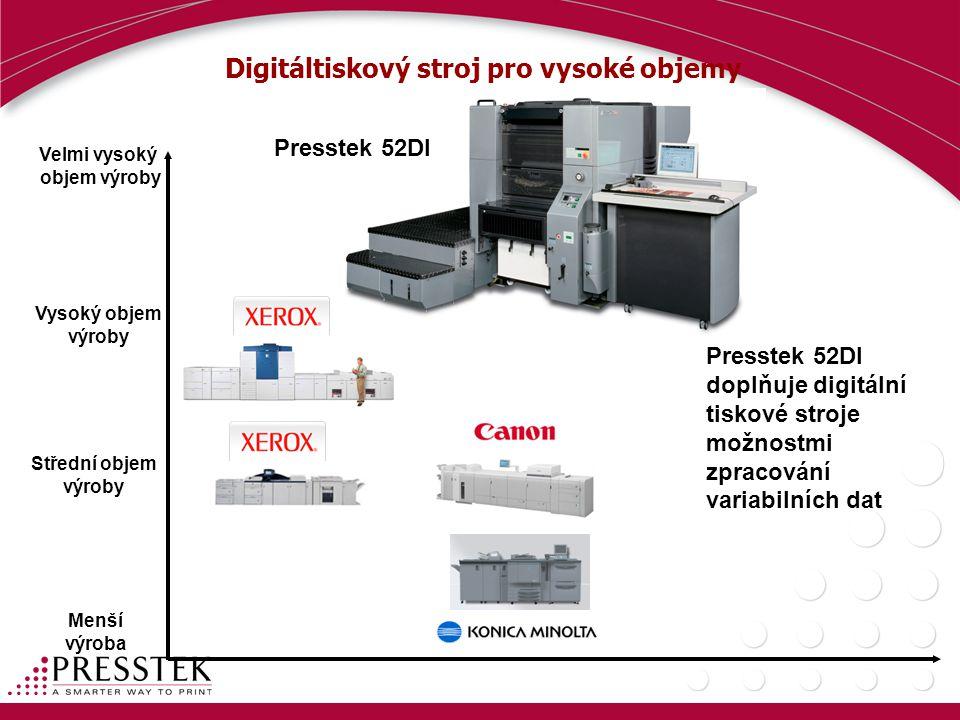 Digitáltiskový stroj pro vysoké objemy Velmi vysoký objem výroby Vysoký objem výroby Střední objem výroby Menší výroba Presstek 52DI Presstek 52DI doplňuje digitální tiskové stroje možnostmi zpracování variabilních dat
