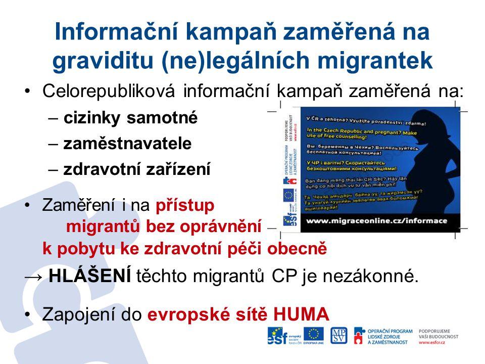 Informační kampaň zaměřená na graviditu (ne)legálních migrantek •Celorepubliková informační kampaň zaměřená na: –cizinky samotné –zaměstnavatele –zdravotní zařízení •Zaměření i na přístup migrantů bez oprávnění k pobytu ke zdravotní péči obecně → HLÁŠENÍ těchto migrantů CP je nezákonné.