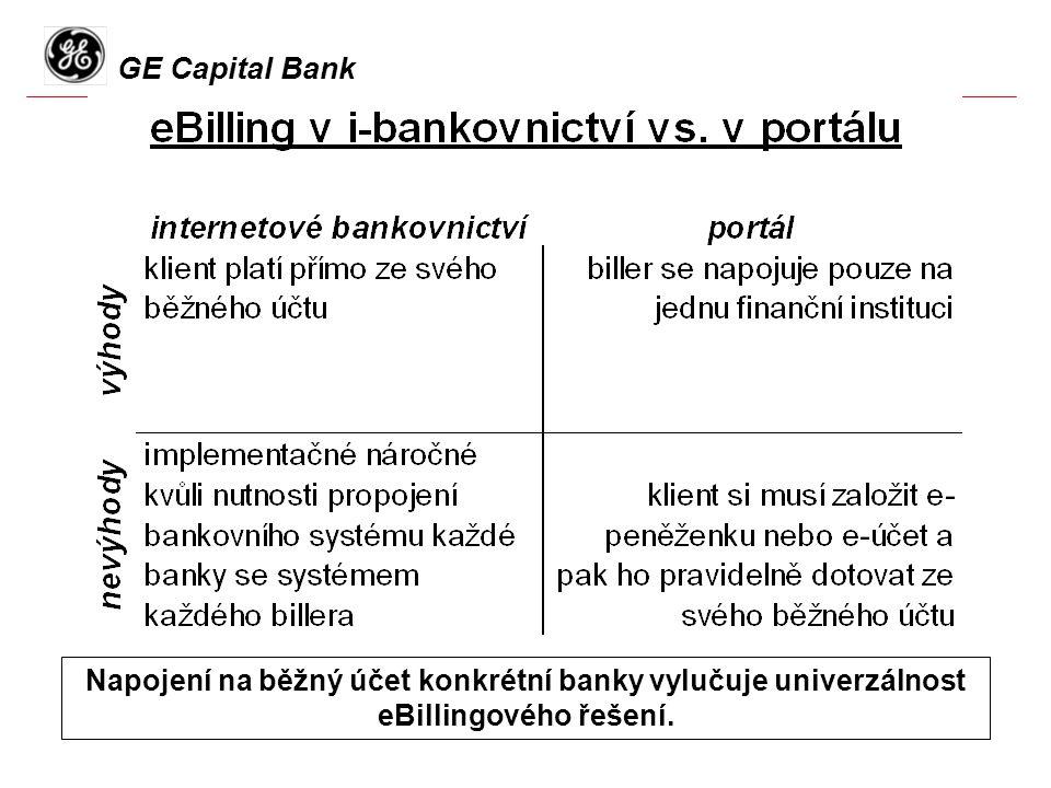 GE Capital Bank Napojení na běžný účet konkrétní banky vylučuje univerzálnost eBillingového řešení.