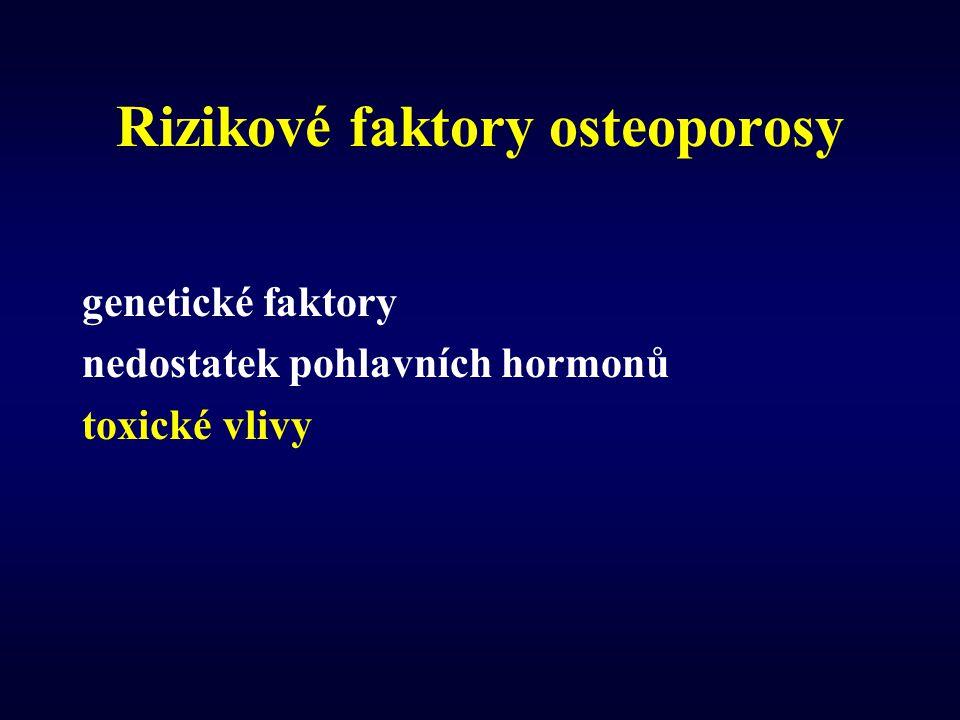 Rizikové faktory osteoporosy genetické faktory nedostatek pohlavních hormonů toxické vlivy